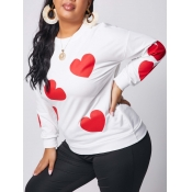 lovely Casual O Neck Heart Print White Plus Size H