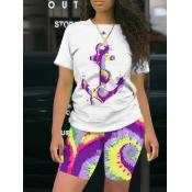 lovely Leisure O Neck Tie Dye Purple Two Piece Shorts Set