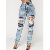 lovely Trendy Broken Holes Grey Plus Size Jeans