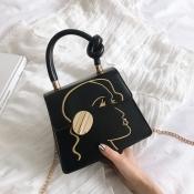 lovely Stylish Print Black Crossbody Bag