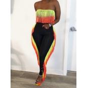 Lovely Stylish Dew Shoulder Tassel Design Black Two Piece Pants Set