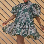 Lovely Stylish Camo Pritn Army GreenMini Dress