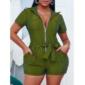 lovely Casual Zipper Design GreenOne-piece Romper