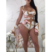 Lovely Cut-Out Print White Two Piece Swimwear(Without Cover-up)