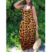 lovely Stylish U Neck Leopard Print Maxi Dress