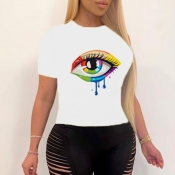 lovely Street O Neck Eye Print White T-shirt