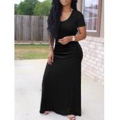 lovely Casual U Neck Basic Black Maxi Dress
