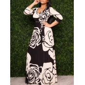 lovely Bohemian V Neck Print Black Maxi Dress