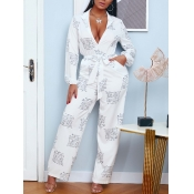 lovely Casual Letter Print Lace-up White One-piece