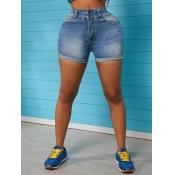 lovely Street Edge Curl Baby Blue Denim Shorts