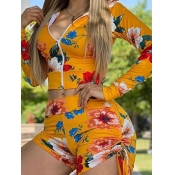 lovely Street Hooded Collar Floral Print Yellow Tw