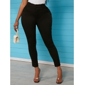 lovely Casual High-waisted Skinny Black Jeans