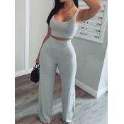 lovely Sportswear U Neck Basic Grey Two Piece Pants Set
