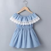 lovely Sweet Lace Hem Fold Design Baby Blue Girl K
