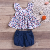 lovely Sweet Floral Print Blue Girl Two-piece Shor