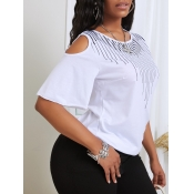 lovely Casual O Neck Hollow-out White T-shirt