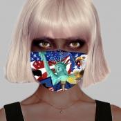 lovely Print Blue Girl Face Mask