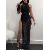lovely Sexy Backless Side High SlitBlack Maxi Dre