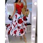 lovely Bohemian Print Patchwork Red Ankle Length D
