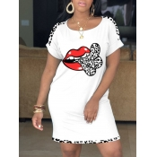 Lovely Casual O Neck Lip Print White Knee Length Dress