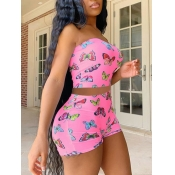 lovely Stylish Butterfly Print Pink Two Piece Shor