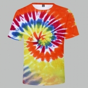 lovely Trendy O Neck Tie-dye Jacinth T-shirt