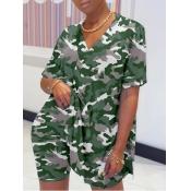 lovely Leisure V Neck Camo Print Green Loungewear