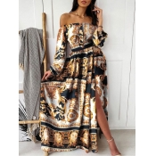 lovely Bohemian Dew Shoulder Versace Print Yellow