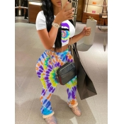 Lovely Casual O Neck Lip Print Purple Two Piece Pa