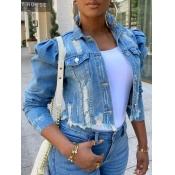 lovely Street Turndown Collar Buttons Design Blue Denim Jacket