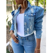 Lovely Street Turndown Collar Buttons Design Blue Denim Jacket