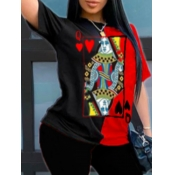 lovely Casual O Neck Print Red T-shirt