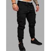 Men lovely Casual Pocket Patched Black Pants