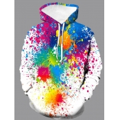 lovely Street Hooded Collar Tie-dye White Hoodie
