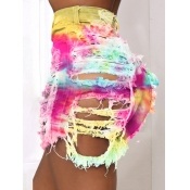 Lovely Casual Tie-dye Broken Holes Yellow Denim Shorts