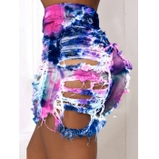 Lovely Casual Tie-dye Broken Holes Deep Blue Denim Shorts