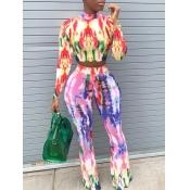 Lovely Stylish O Neck Tie Dye Multicolor Two Piece Pants Set