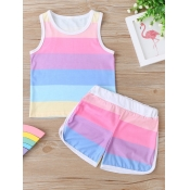 lovely Casual O Neck Striped Multicolor Girl Two-piece Shorts Set