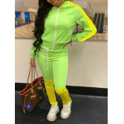Lovely Casual Patchwork Zipper Design Green Two Piece Pants Set