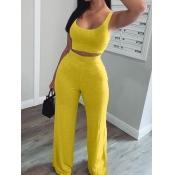 lovely Sportswear U Neck Basic Yellow Two Piece Pants Set