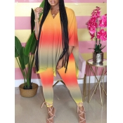 lovely Leisure V Neck Gradient Jacinth Two Piece P
