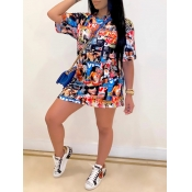 Lovely Casual O Neck Print Multicolor Mini Dress