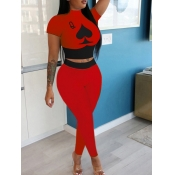 lovely Sportswear Print Patchwork Red Two Piece Pants Set