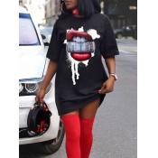 lovely Casual O Neck Lip Print Black Mini T-shirt Dress