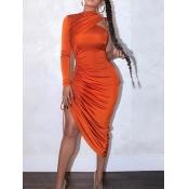 lovely Sexy One Shoulder Fold Design Orange Mid Calf Dress