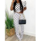 lovely Sportswear O Neck Dot Print White Two Piece Pants Set