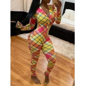 lovely Trendy V Neck Grid Print Orange Yellow One-piece Jumpsuit