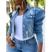 Lovely Street Turndown Collar Buttons Design Blue Plus Size Denim Jacket