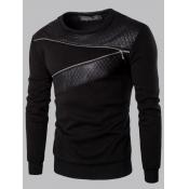 Men lovely Casual O Neck Zipper Design Patchwork Black Hoodie