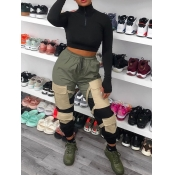 Lovely Sportswear Pocket Patched Army Green Pants